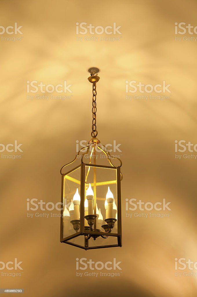 antique lamp hanging from the ceiling royalty-free stock photo