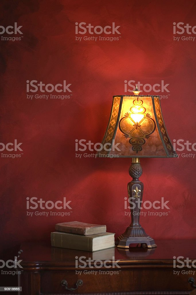 Antique Lamp on Table royalty-free stock photo