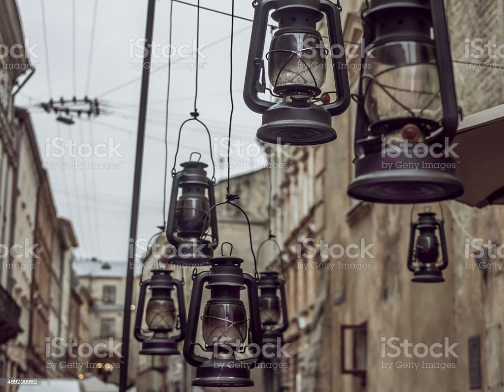 antique lamps stock photo