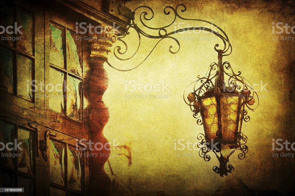 antique lantern with vintage texture stock photo