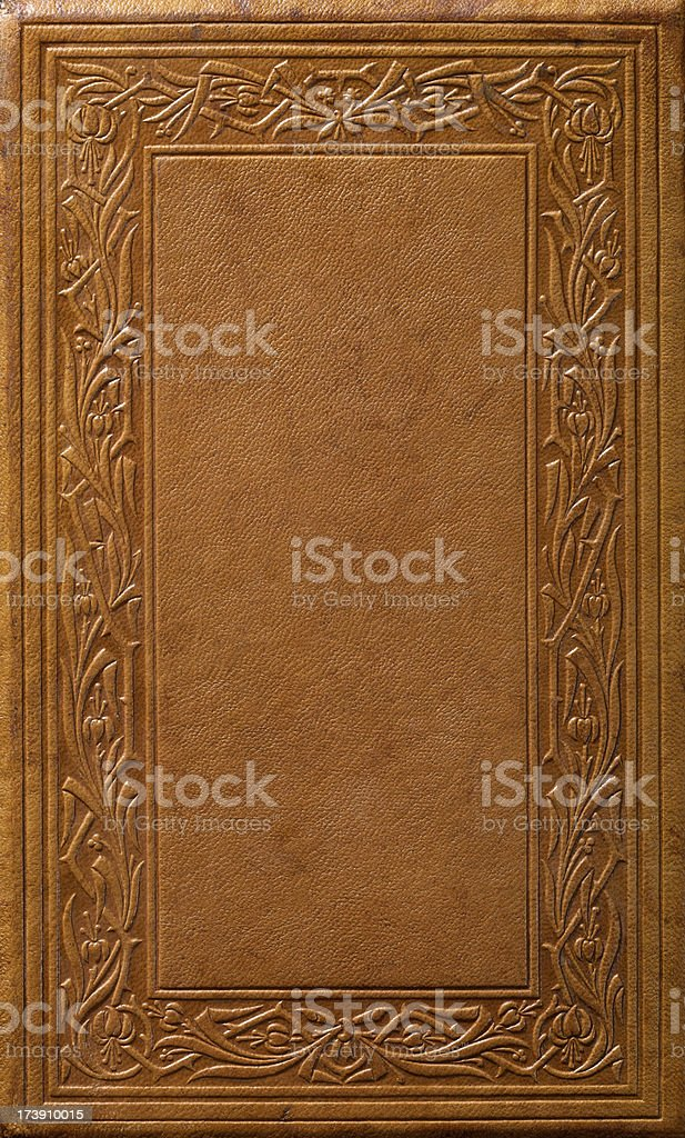 Antique Leather Book Cover 160 Years Old stock photo