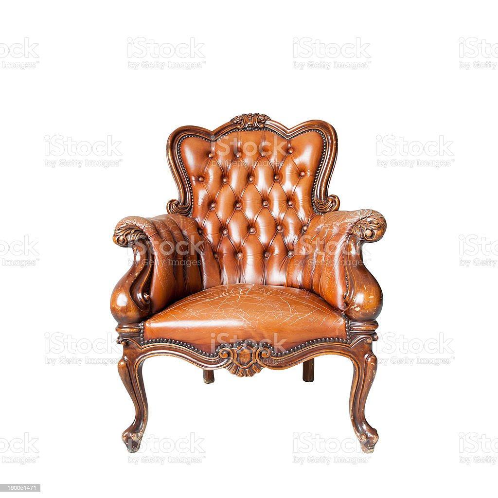 antique leather chair isolated on white background royalty-free stock photo