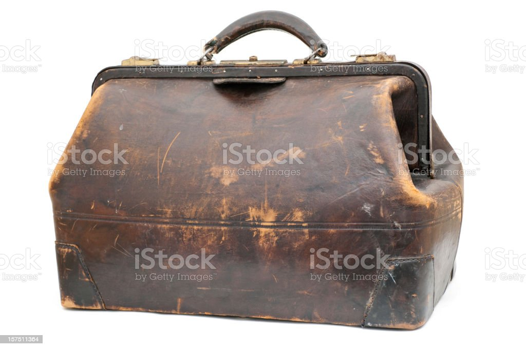 antique leather traveling case stock photo
