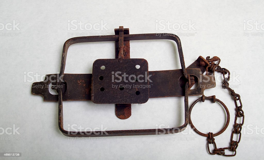 Antique Leg Hold Beaver Trap stock photo