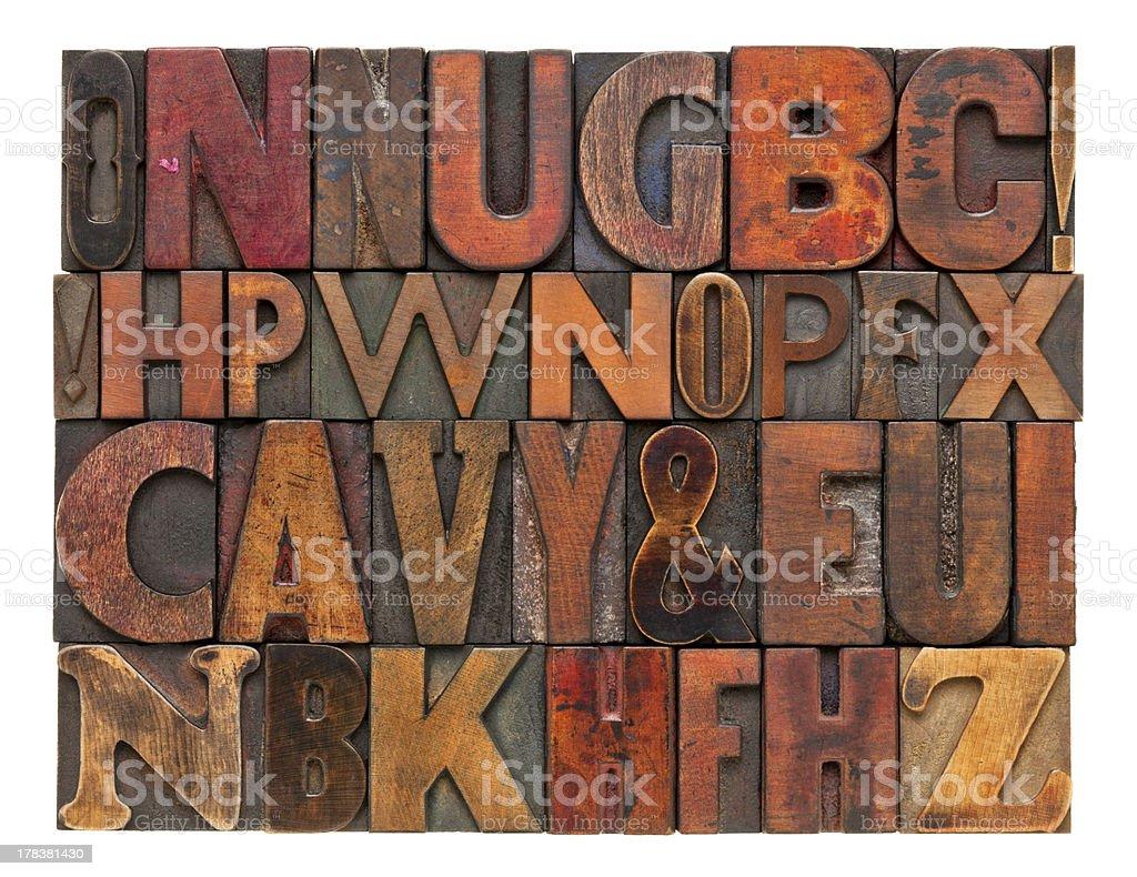 antique lettepress wood type alphabet stock photo