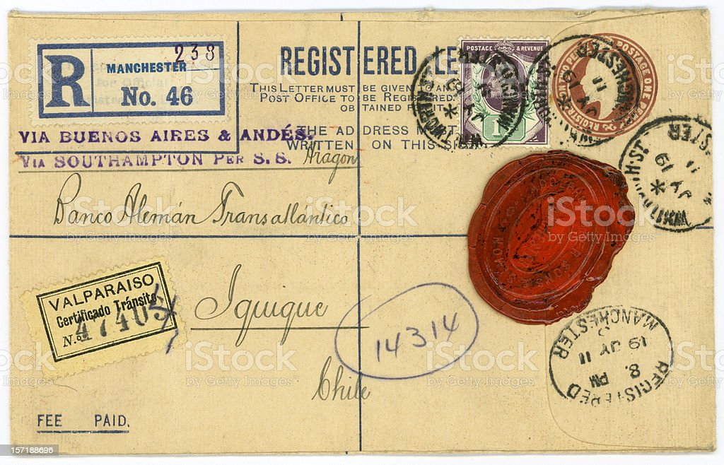 Antique Letter Envelope with Wax Seal and Postmarks stock photo