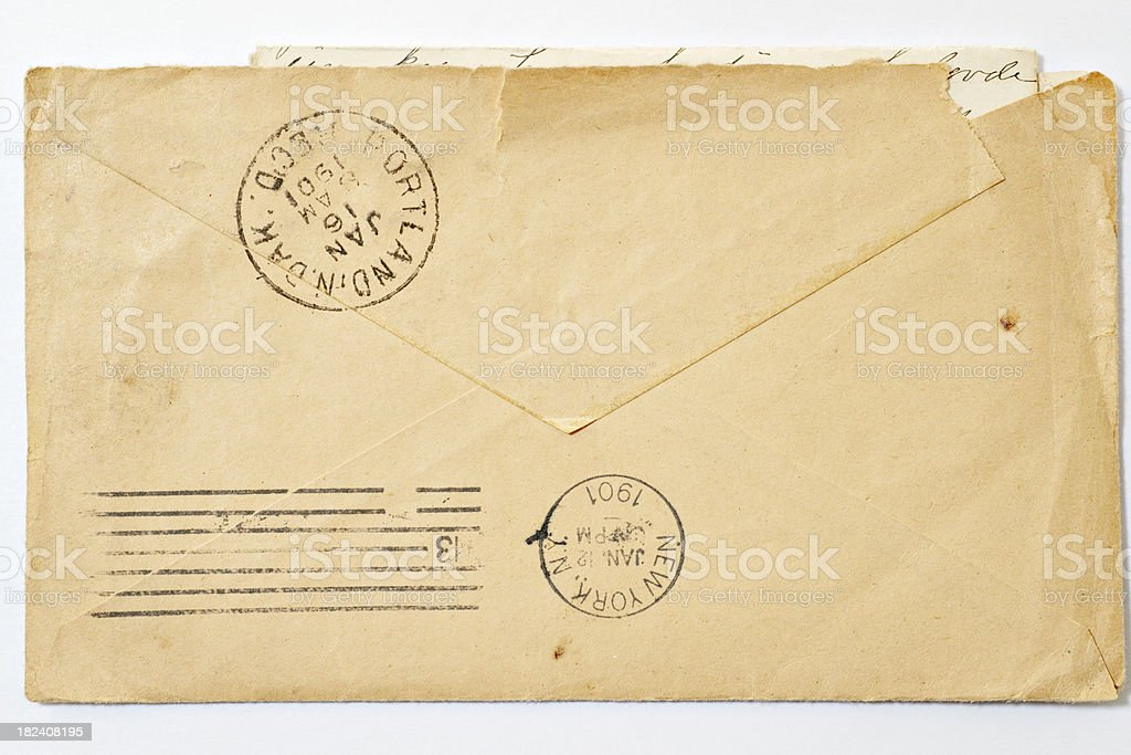 antique letter postmark on back 1901 stock photo