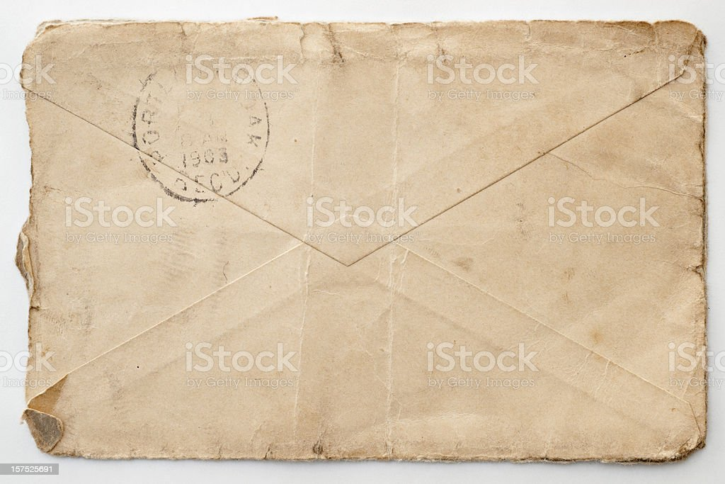 antique letter postmark on back 1903 stock photo