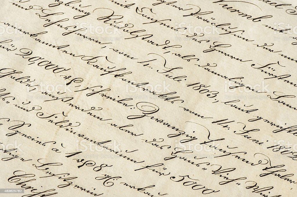 Antique letter with calligraphic handwritten text. Grunge paper background stock photo