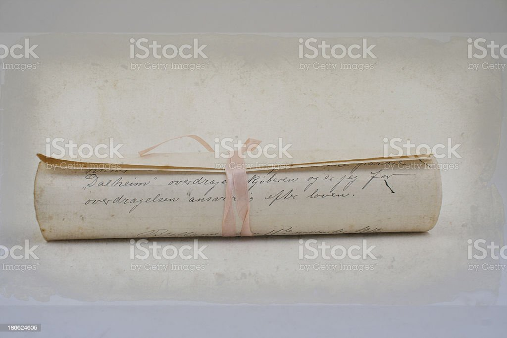 Antique letter with silk ribbon. royalty-free stock photo