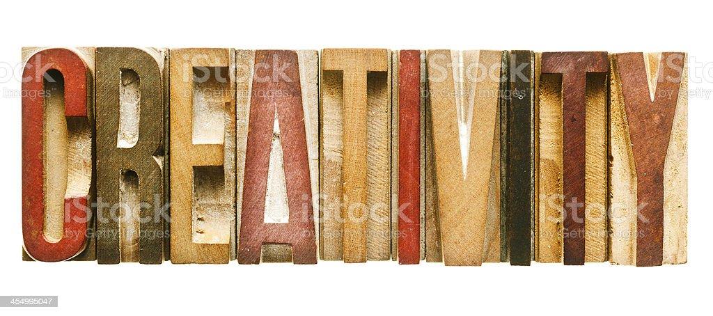CREATIVITY  Antique Letterpress Printing Blocks stock photo