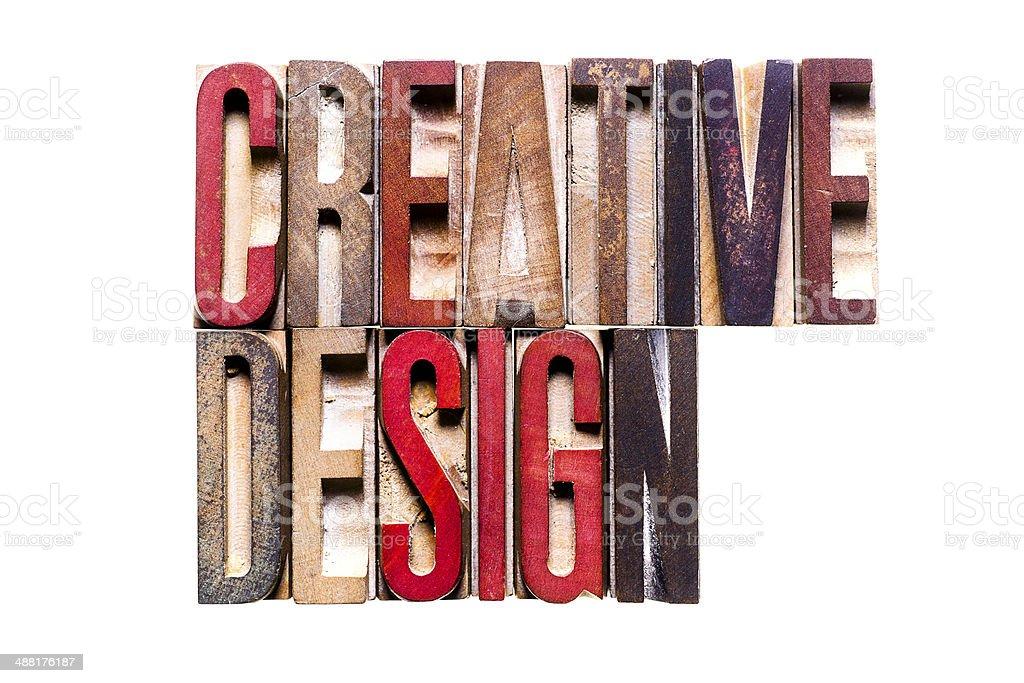 CREATIVE DESIGN Antique Letterpress Printing Blocks stock photo