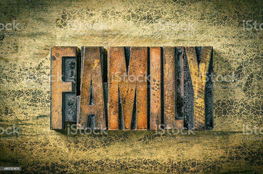Antique letterpress wood type printing blocks - Family stock photo