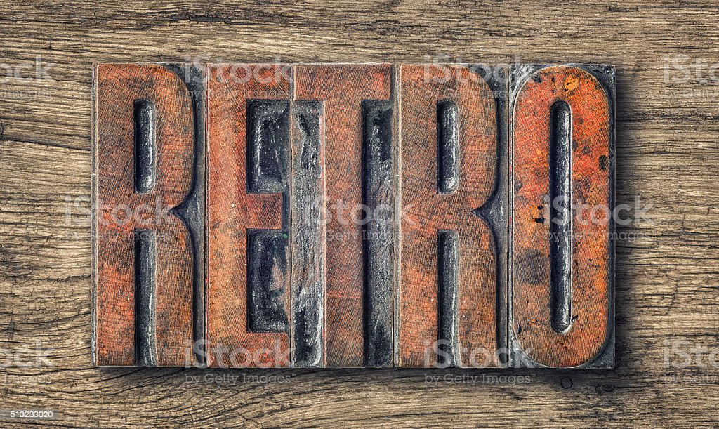 Antique letterpress wood type printing blocks - Retro stock photo