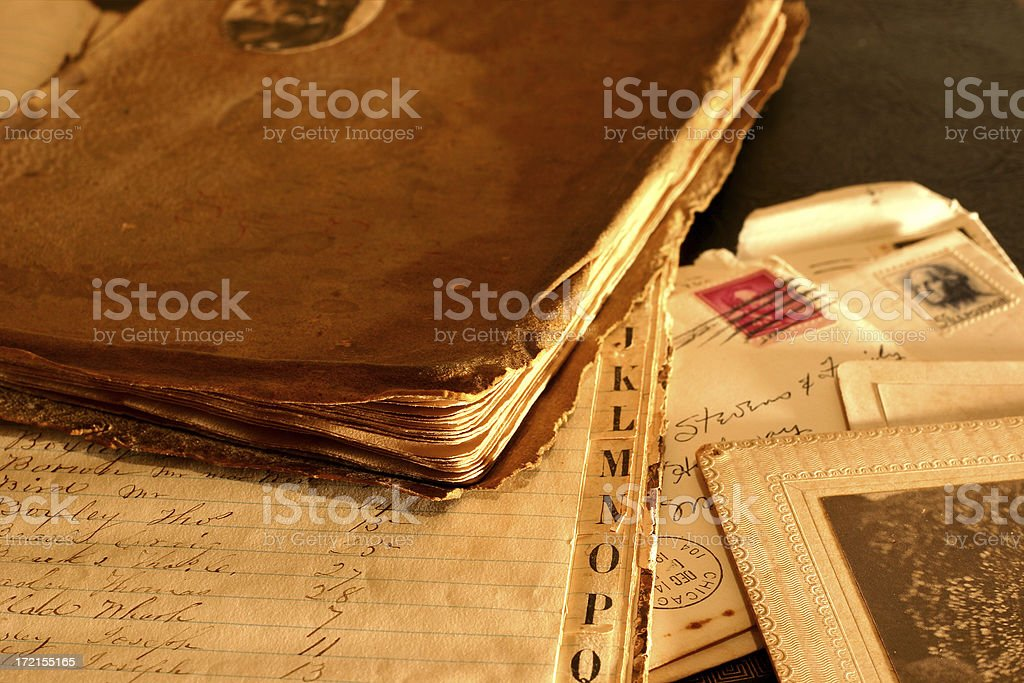 Antique Letters and Photos on Desktop stock photo