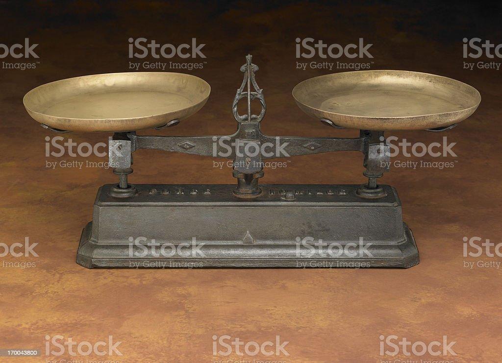Antique Leveling Scale on warm background stock photo