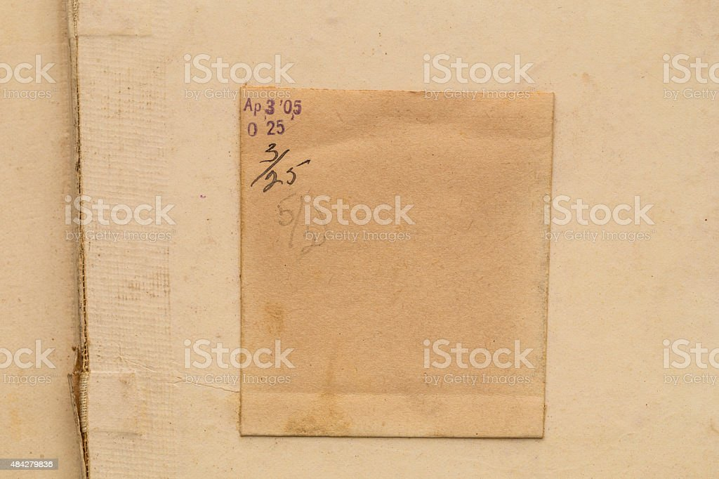 Antique Library card pocket and marks stock photo