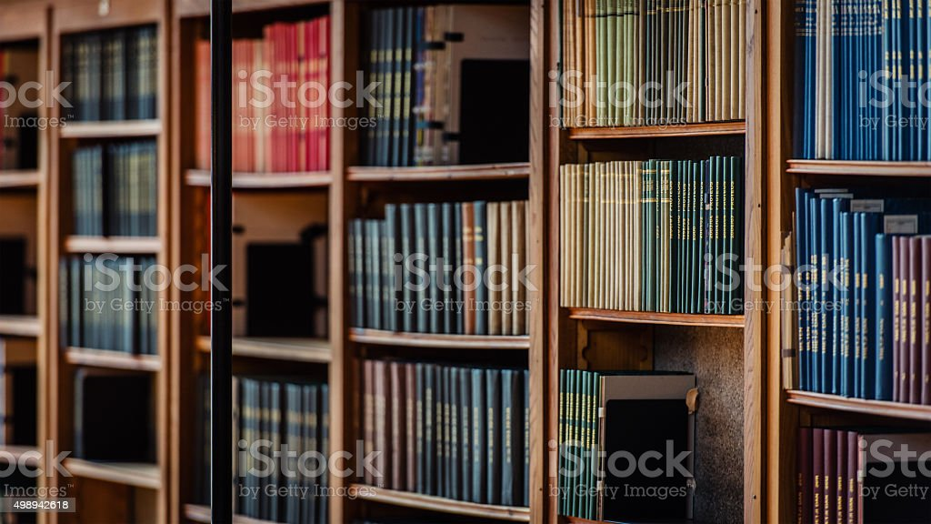Antique library shelves stock photo