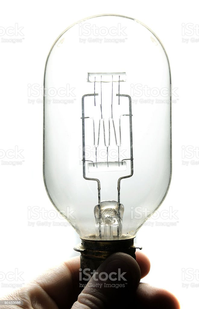 Antique Light Bulb With Multiple Filaments - Close-Up royalty-free stock photo