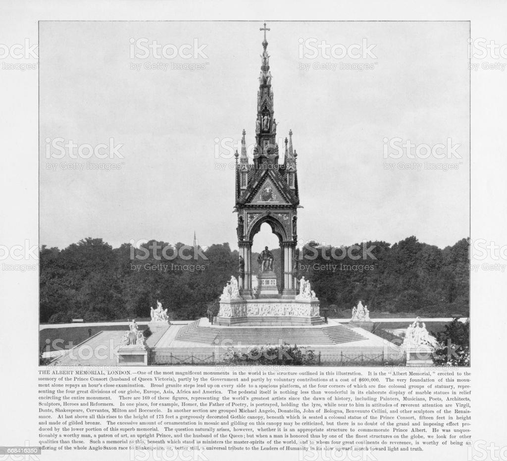Antique London Photograph: The Albert Memorial, London, 1893 stock photo