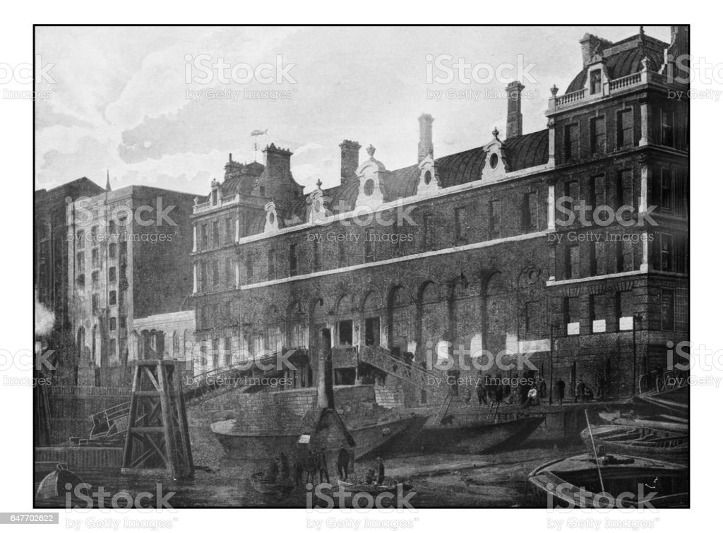 Antique London's photographs: Billingsgate Market stock photo