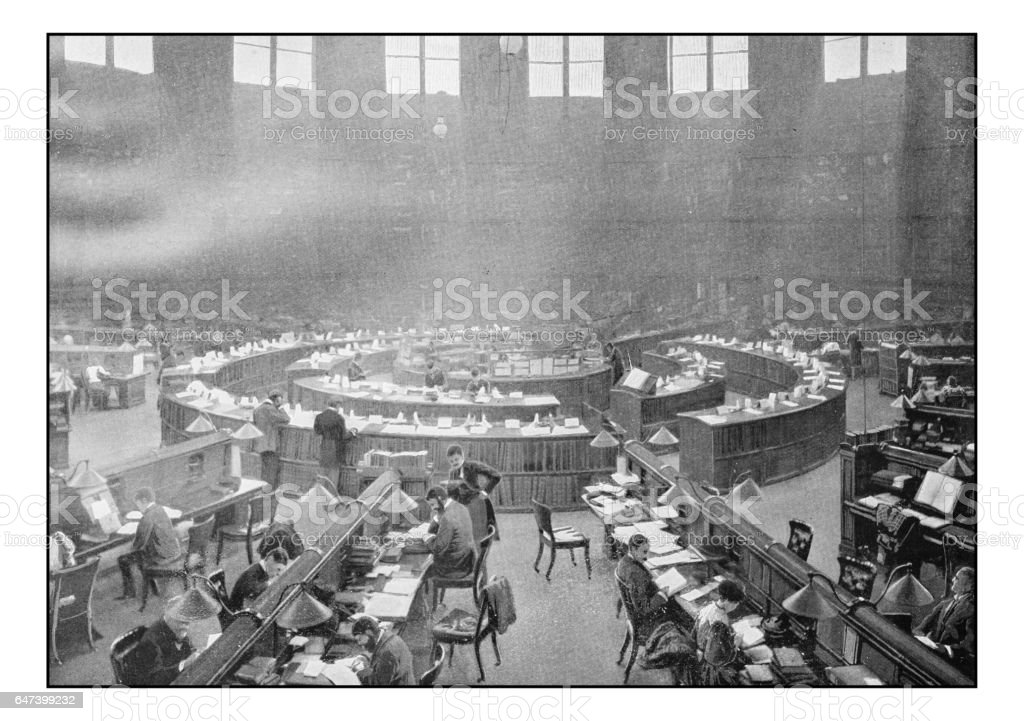 Antique London's photographs: British Museum Reading room stock photo
