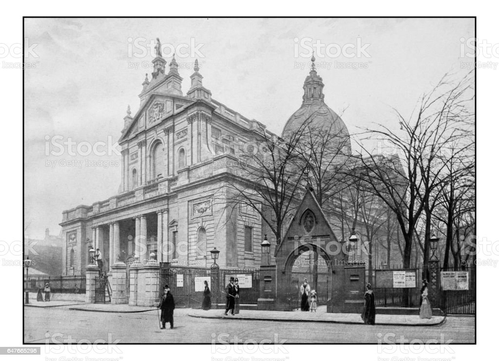 Antique London's photographs: Brompton oratory stock photo