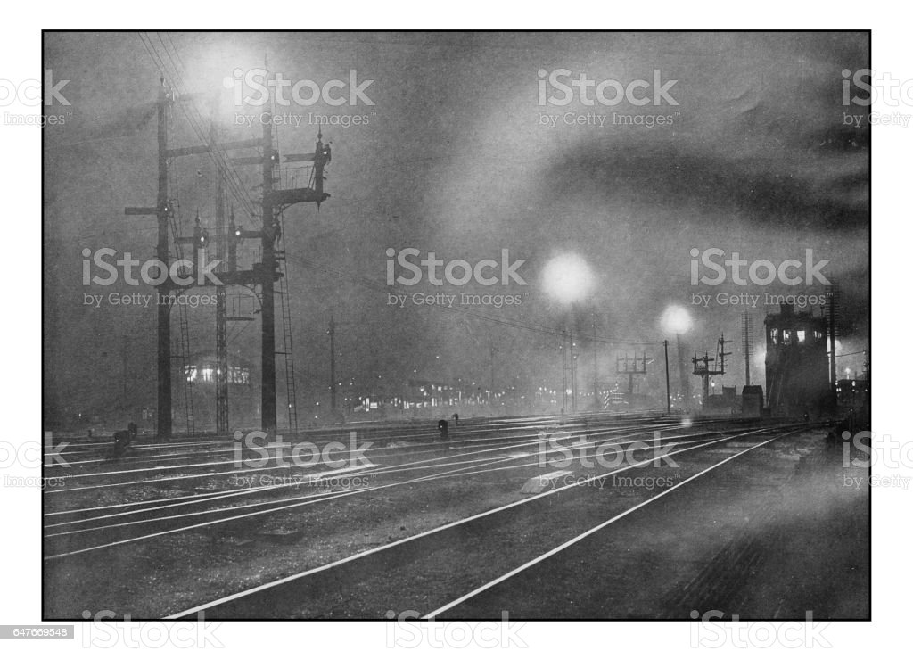 Antique London's photographs: Clapham Junction at Night stock photo