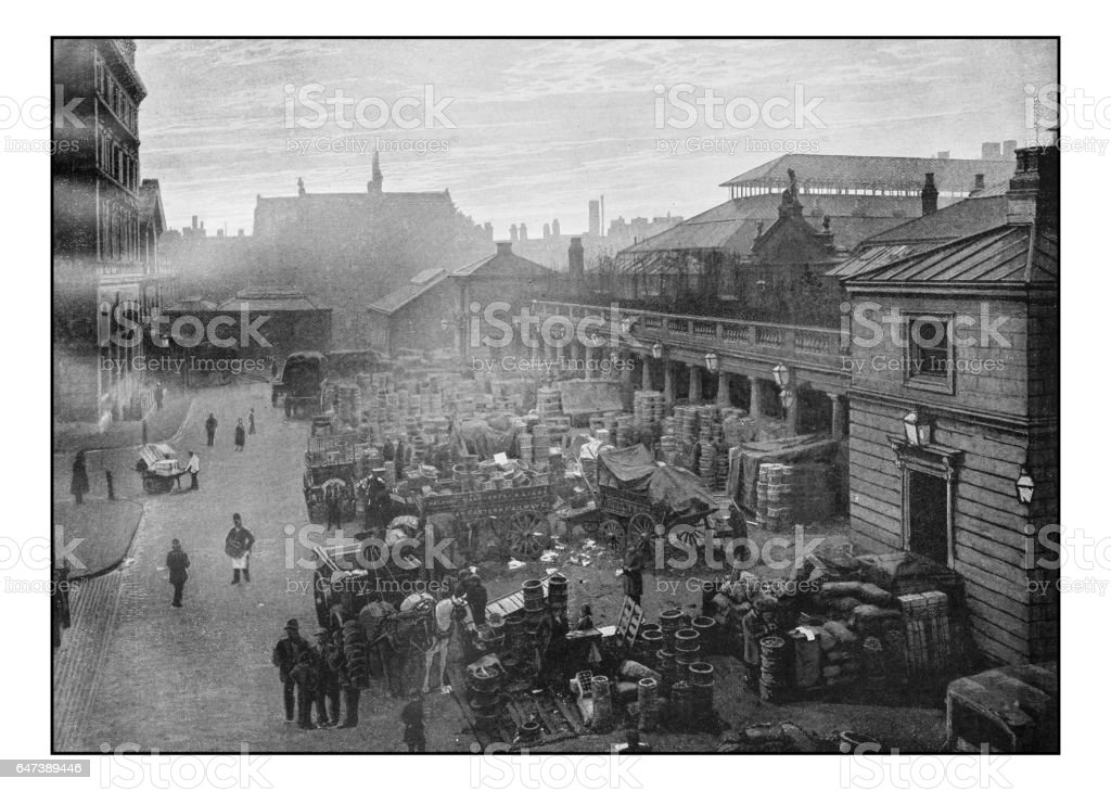 Antique London's photographs: Covent Garden Market stock photo