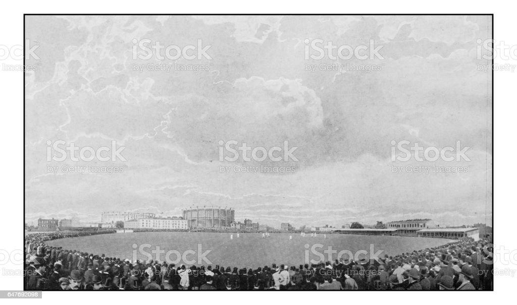 Antique London's photographs: Cricket at Kennington Oval stock photo