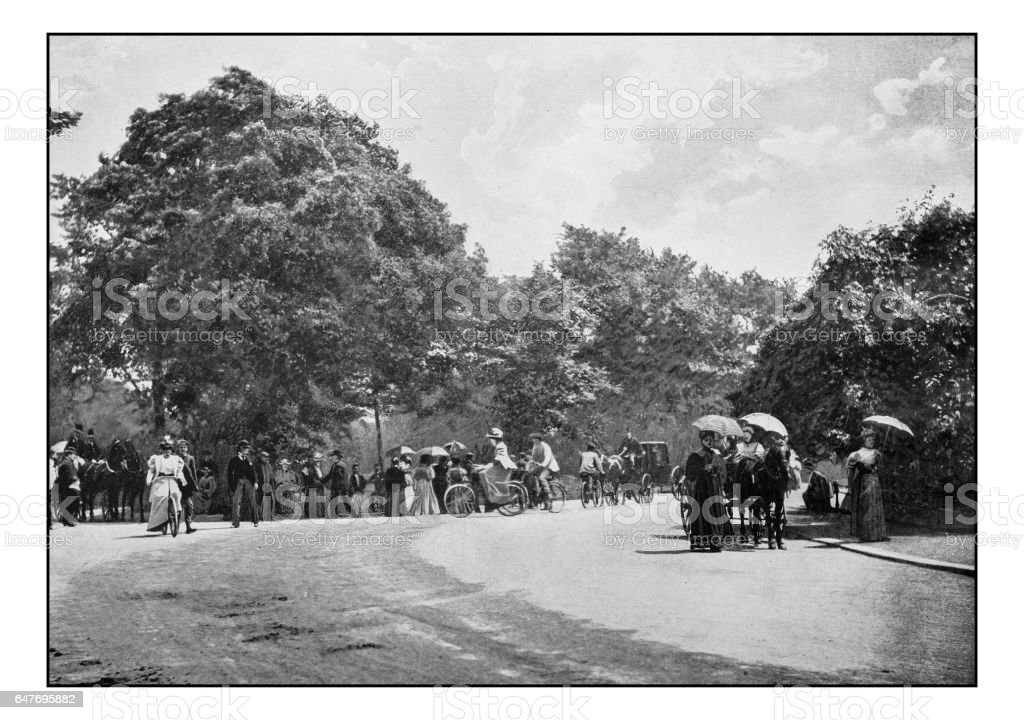 Antique London's photographs: Cycling in Battersea Park stock photo
