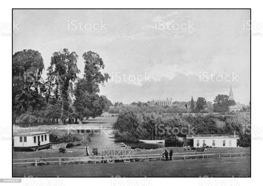 Antique London's photographs: Distant view of the Eton College stock photo