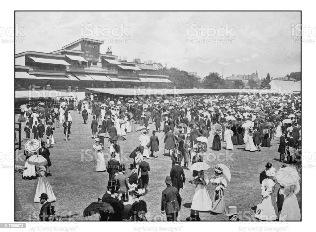 Antique London's photographs: Eton and Harrow Match at Lord's Luncheon Interval stock photo