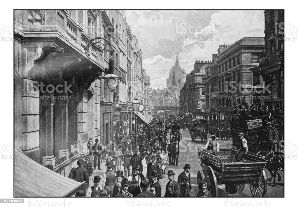 Antique London's photographs: Fleet Street stock photo