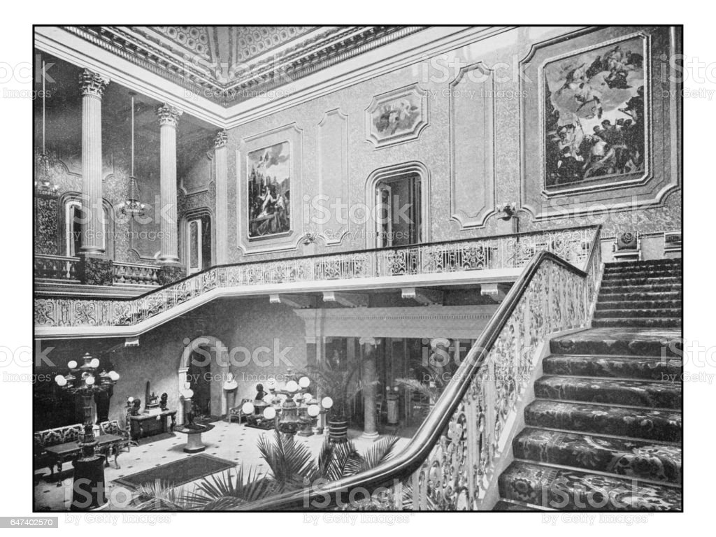 Antique London's photographs: Hall and Staircase of Stafford House stock photo