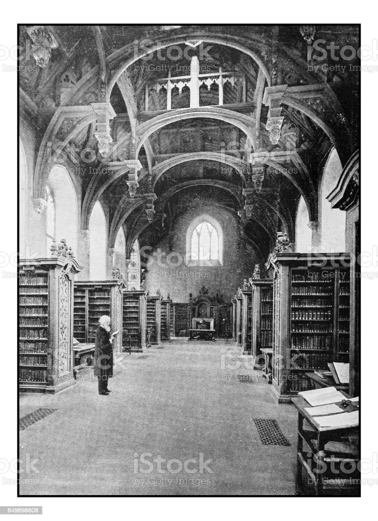 Antique London's photographs: Lambeth Palace, the library stock photo