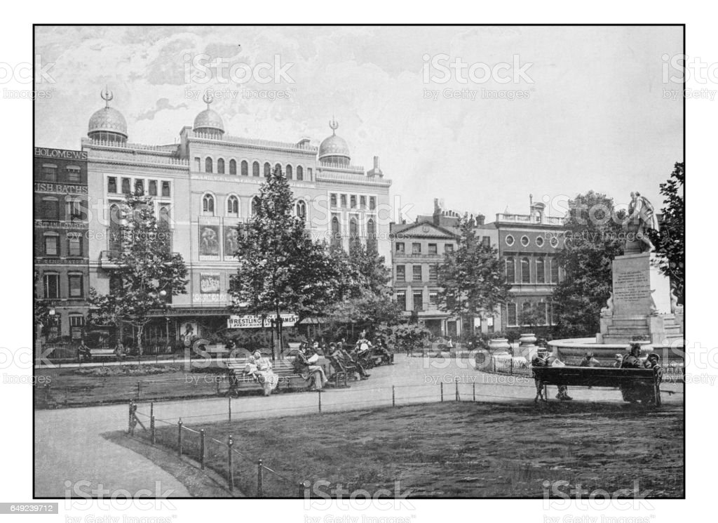 Antique London's photographs: Leicester Square stock photo