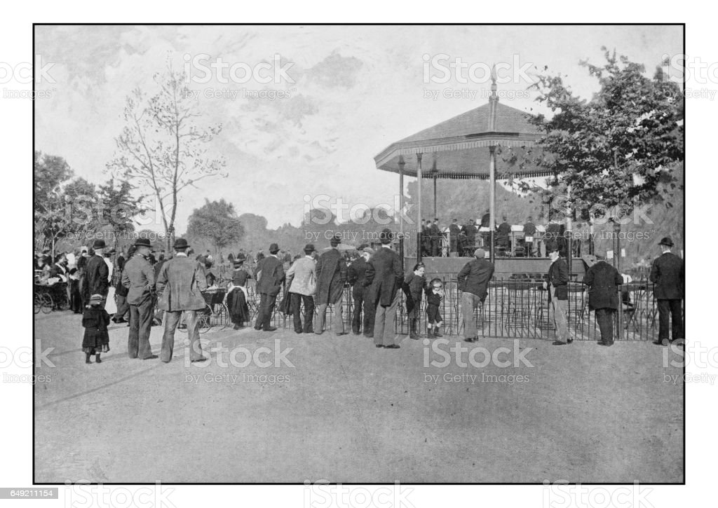 Antique London's photographs: London county council band in Battersea Park stock photo