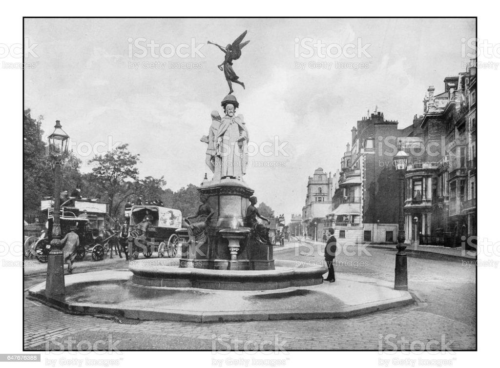 Antique London's photographs: Memorial fountain in Park lane stock photo