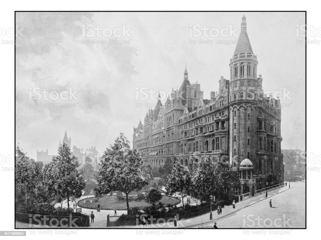 Antique London's photographs: National Liberal Club and Whitehall Court stock photo