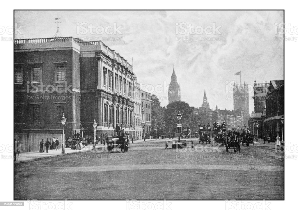 Antique London's photographs: Royal United Service Institution, Whitehall stock photo