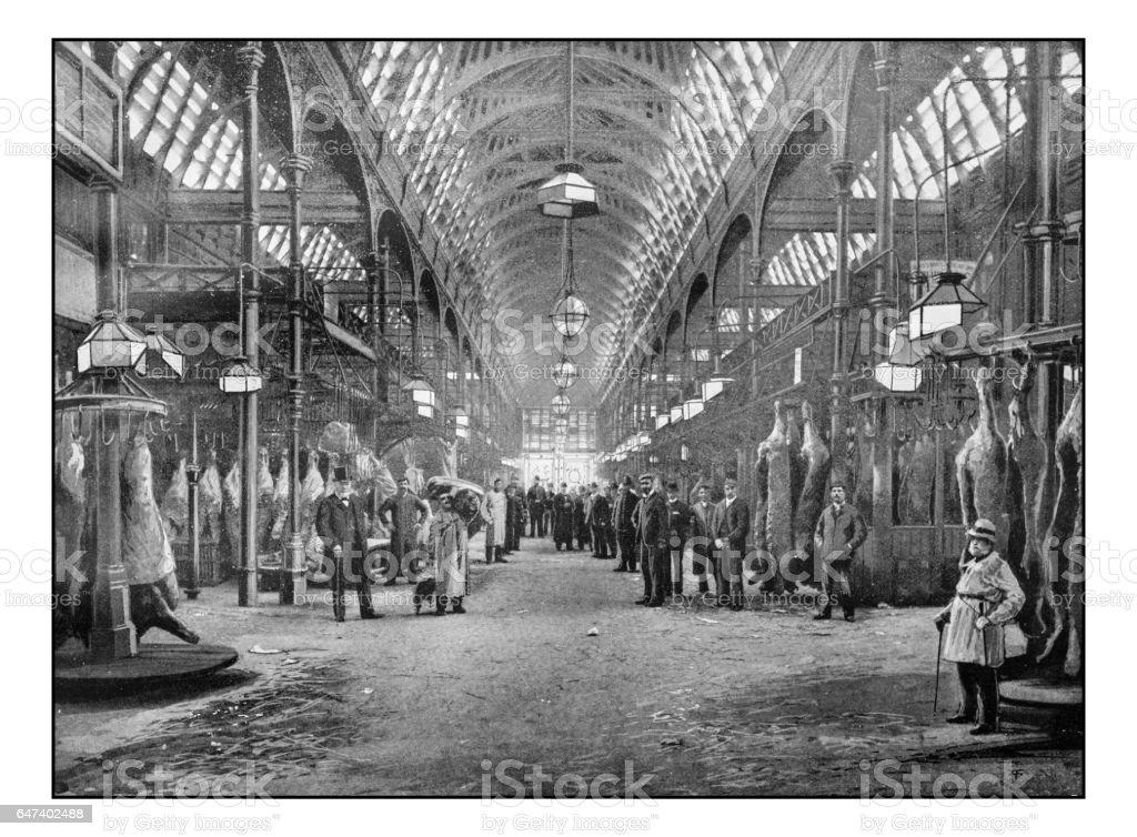 Antique London's photographs: Smithfield meat market stock photo