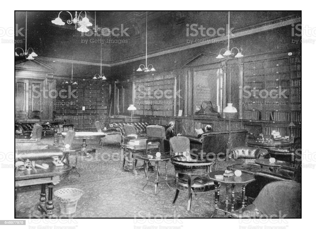 Antique London's photographs: Smoking room of the Carlton club stock photo