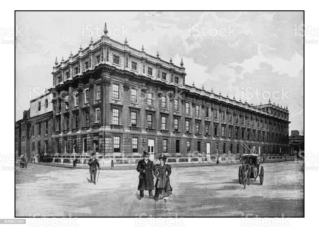 Antique London's photographs: The Treasury, Whitehall stock photo
