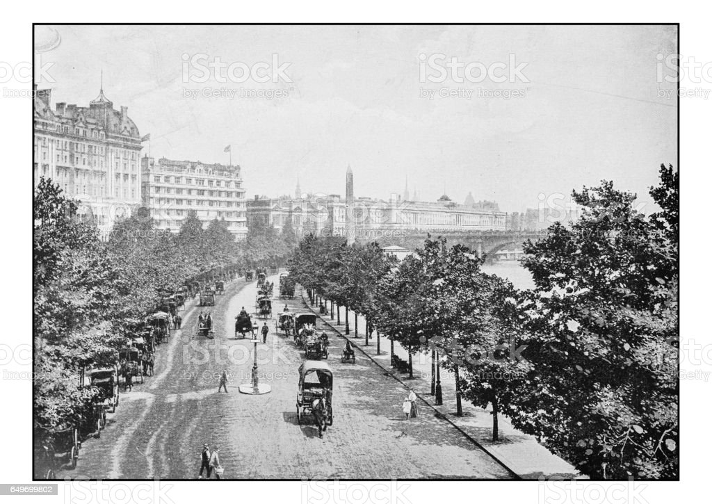 Antique London's photographs: Victoria Embankment from Charing Cross Station stock photo