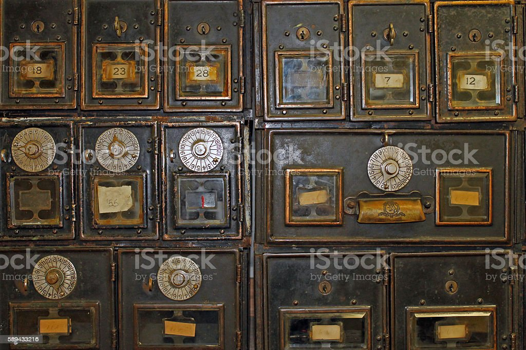 Antique Mailboxes in an Old Post Office stock photo