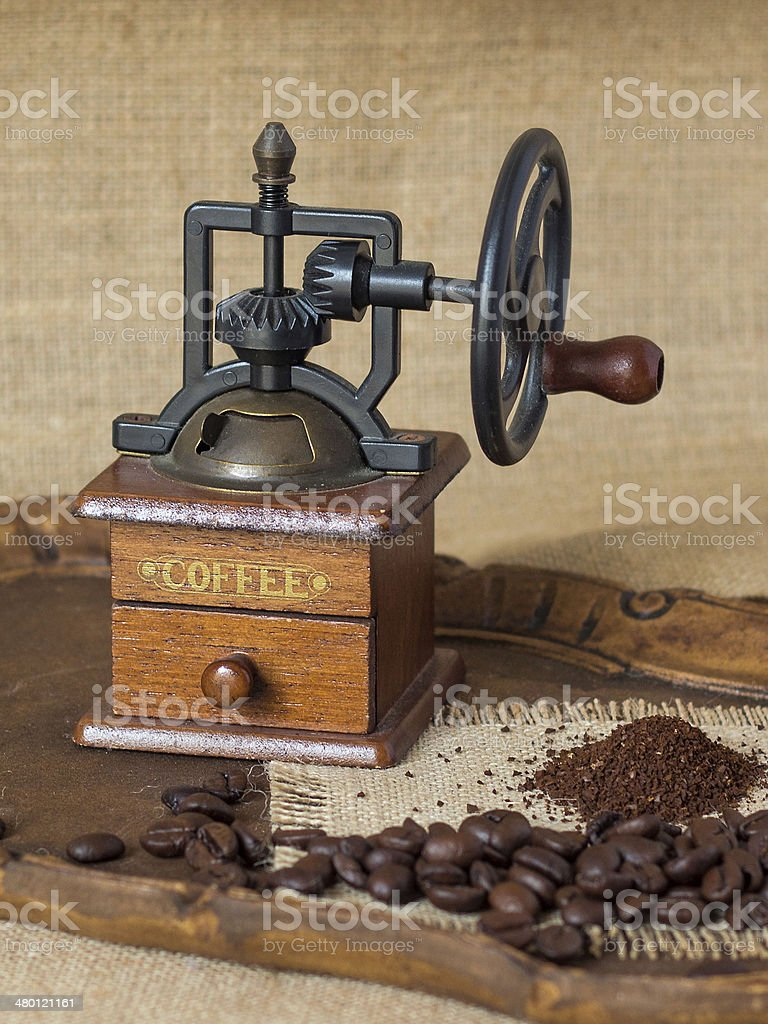 Antique Manual coffee grinder stock photo