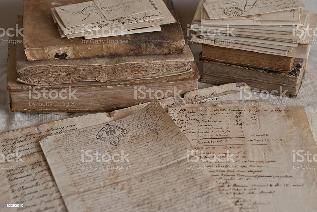 Antique manuscript stock photo