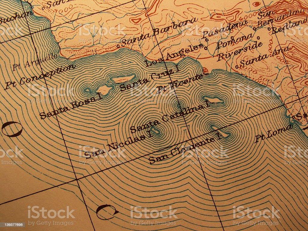 Antique map, American California coast royalty-free stock photo