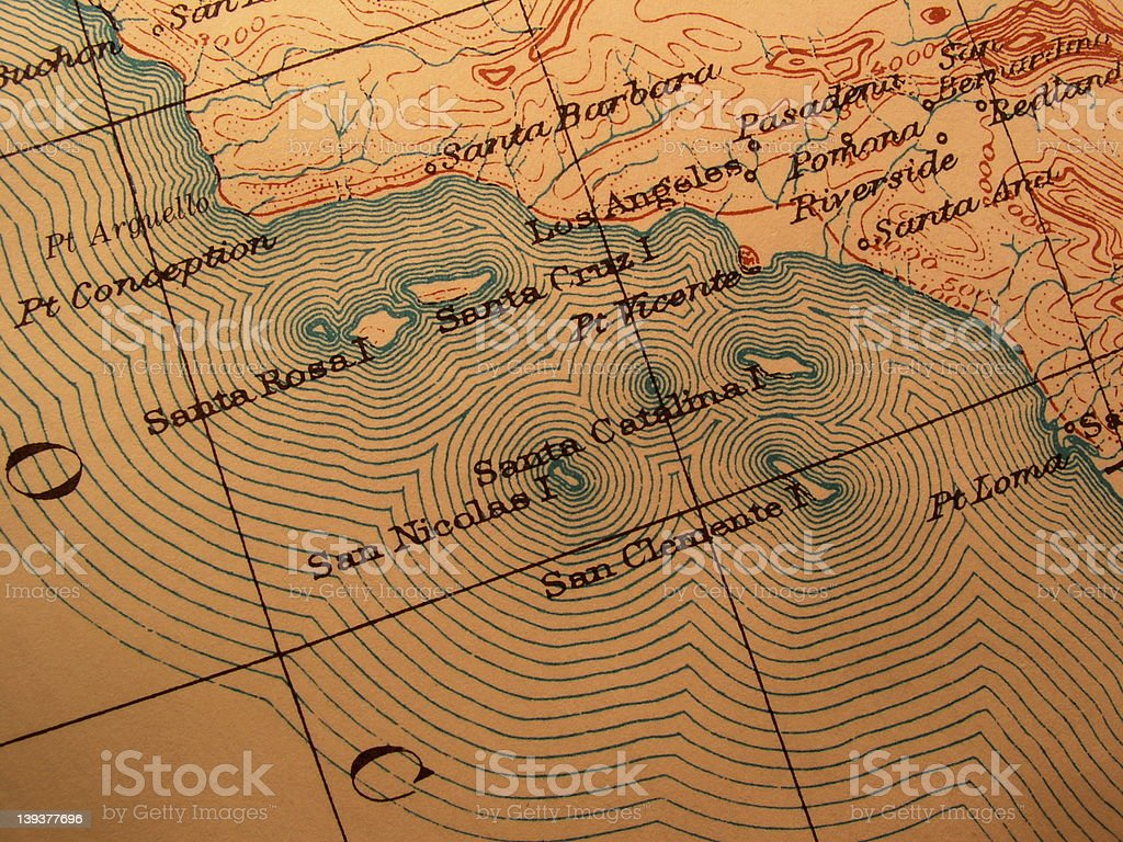 Antique map, American California coast stock photo